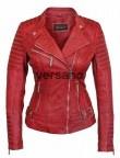Blij met mijn rode leren jas voor dames